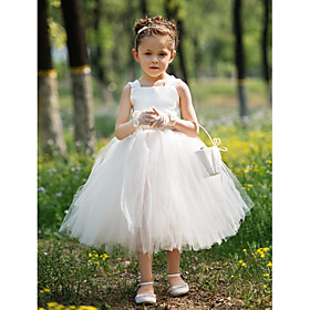 Ball Gown Tea-length Flower Girl Dress - Satin / Tulle Sleeveless Bateau with Sash / Ribbon
