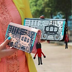 NEW Lady Kvinner Retro Long Purse Hit Color Clutch Wallet (1353640) photo