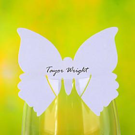 Butterfly formet Place kort for Wine Glass - Sett med 12