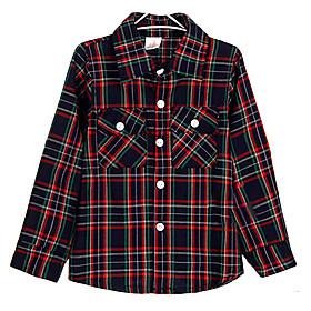 Estilo de Primavera de Corea Vintage Plaid doble de Boy Bolsillos Camisa de manga larga