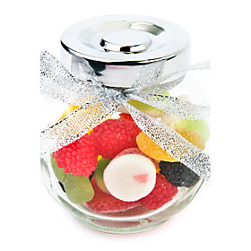 Glass Jar With Ribbon Bow Favor Holder (Set of 12)