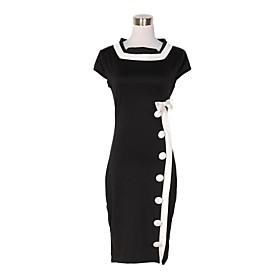 Kvinder Vintage White Bowknot Single breasted Black Dress