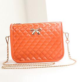 Feng Liang Dame Sommer S?de Bowknot Chain Mini Messenger Bag (orange)