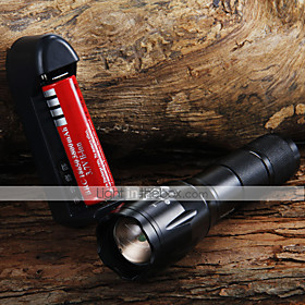 1600LM XML XM-L T6 ZOOMABLE LED Flashlight  18650 Battery  Charger