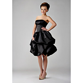 LAN TING BRIDE Knee-length Strapless Bridesmaid Dress - Little Black Dress Sleeveless Satin plus size,  plus size fashion plus size appare