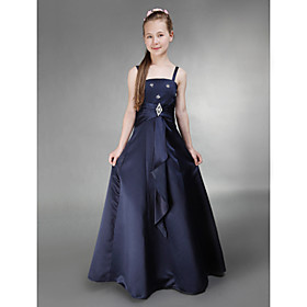 A-Line Princess Spaghetti Straps Floor Length Satin Junior Bridesmaid Dress with Crystal Brooch Side Draping by LAN TING BRIDE