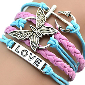 Women's Layered Plaited ID Bracelet Wrap Bracelet Leather Bracelet - Leather Heart, Butterfly, Animal Unique Design, European, Fashion Bracelet Pink / Blue For