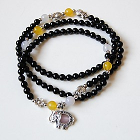 Maya Fashion Natural Tibetan Black Agate Stone Beads Charm Stretch Bracelet ..