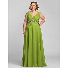 Plus Size A-line V-neck Floor-length Chiffon Evening/Prom Dress