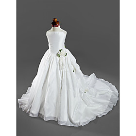 LAN TING BRIDE Ball Gown Court Train Flower Girl Dress - Satin Taffeta Spaghetti Straps with Appliques Pick Up Skirt Ruffles