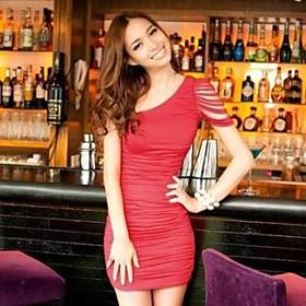 Dame Single skulder Bodycon Sexede Party Dress