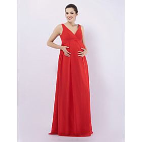 Lanting Bride Floor-length Chiffon Bridesmaid Dress - Sheath / Column V-neck / Straps Maternity with Draping plus size,  plus size fashion plus size appare