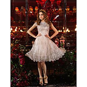 TS Couture Cocktail Party / Prom / Holiday Dress - Elegant / Vintage Inspired Plus Size / Petite Sheath / Column Jewel Knee-length Lace plus size,  plus size fashion plus size appare