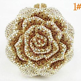 Kvinder Fashion Rose Design Rhinestone Clutch Purse (1389178) photo