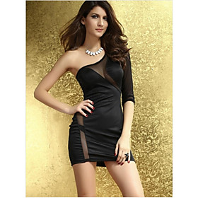 Dame Single Side Sleeve Plain Mini Dress