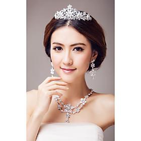 Elegant legering med Rhinestone Wedding Bridal Jewelry Set (Inkludert Tiara, halskjede og ?redobber)