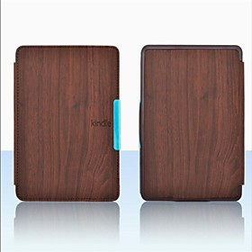 Wood Style Upgrade Slim PU Leather Cover Case for Amazon Kindle Paperwhite 4 Colors