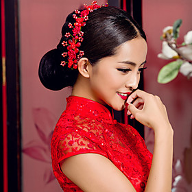 Elegant Chinese Red Headdress for Weddings