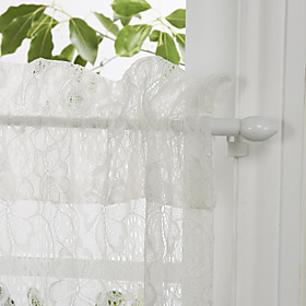 "Country Elegant Blossoms White Lace Tier Kitchen Curtain Set - 2 pcs, 54 x 26""L"