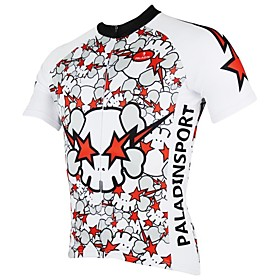 PaladinSport Men's Angry Skull Spring and Summer Style 100% Polyester Short Sleeved Cycling Jersey