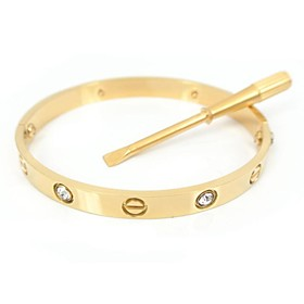 Fashion Women's 17CM Gold Screw Titanium Steel Diamonte Bangle with Same Col..