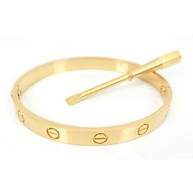 Moda feminina 19CM Ouro Parafuso Titanium Aço Bangle com a mesma cor de fenda