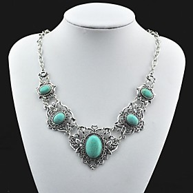 Toonykelly Vintage Tibet Alloy Antique Silver Turquoise Necklace(Green)(1 Pc)