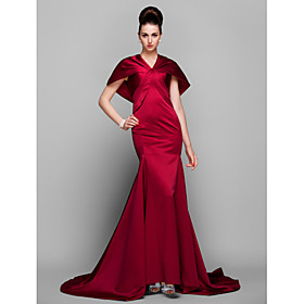 TS Couture Formal Evening Dress - Elegant / Vintage Inspired Plus Size / Petite Trumpet / Mermaid V-neck Court Train Satin with Side Draping plus size,  plus size fashion plus size appare