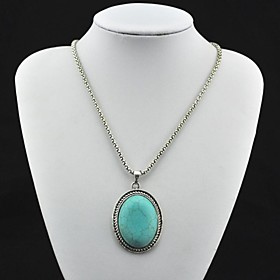 Toonykelly Vintage Antique Silver Turquoise Pendant Necklace(Green)(1 Pc)