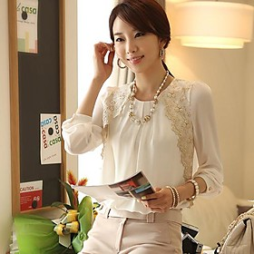 Womens Lace Embroidered Chiffon Casual Blouse $8.99 AT vintagedancer.com