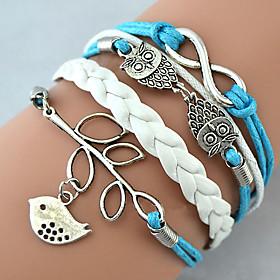 Bracelet Charm Bracelet Wrap Bracelet Leather Bracelet Multilayer Alloy Owl Leaves and Infinity Charms Handmade Jewelry Christmas Gifts 1pc