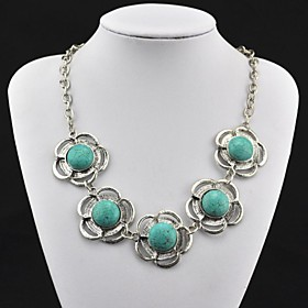 Toonykelly Vintage(Flower)Tibet Alloy Antique Silver Turquoise Necklace(Green)(1 Pc)
