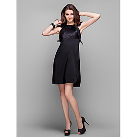 TS Couture Cocktail Party Prom Holiday Dress - Elegant Little Black Dress Sheath / Column Jewel Knee-length Organza Stretch Satin with plus size,  plus size fashion plus size appare