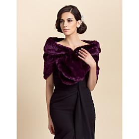 Fur Wraps Shrugs Faux Fur Purple Party/Evening / Casual