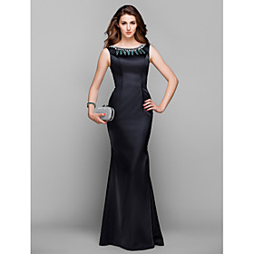 Mermaid / Trumpet Jewel Neck Floor Length Stretch Satin Prom Formal Evening ..