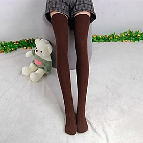 Womens Cotton Knit Over Knee Tights Thigh Stockings High Socks Hosiery $4.99 AT vintagedancer.com