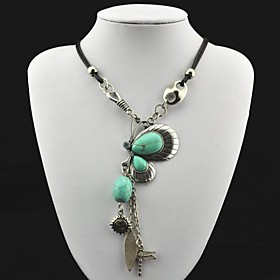Toonykelly Vintage(Butterfly)Antique Silver Crystal Turquoise Necklace(Green)(1 Pc)