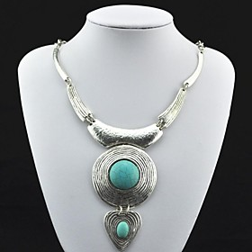Toonykelly Vintage Antique Silver Turquoise Necklace(Green)(1 Pc)
