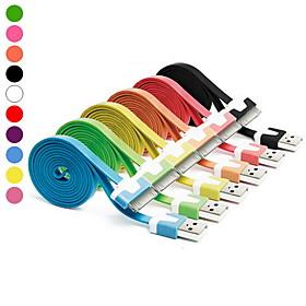 1M Colorful 10 Colors Flat Noodles USB Charger Cable
