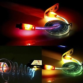 1M LED Smile Face USB Lighting Sync Data Charger Cable for Samsung HTC Andriod phones (Random Color)