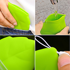 1Pc Portable Leaf Style Pocket Cup  Environmental Green Carry Cup 624013