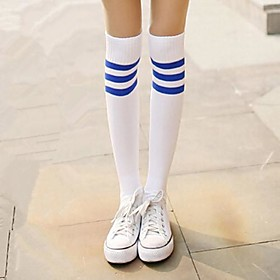 Image of Socks/Stockings Sweet Lolita / Classic/Traditional Lolita Lolita Lolita White / Blue Lolita Accessories Stockings Print / Striped For