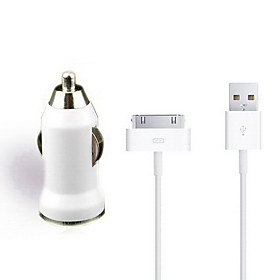 2 in 1 USB Car Charger with USB Cable for iPhone 4/4S/3GS/3G (5V 1A, 30 Pin)