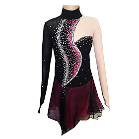 Figure Skating Dress Women's / Girls' Ice Skating Dress Black and Purple Spandex Competition Skating Wear Handmade Solid Colored / Fashion Long Sleeve Ice Skat
