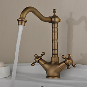 Kitchen faucet One Hole Antique Brass Bar / Prep Deck Mounted Antique / Two Handles One Hole