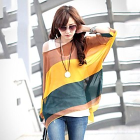 Zian Women's Round Neck Colorful Stripe Batwing Sleeve Loose Bohemian Blouse  Vest