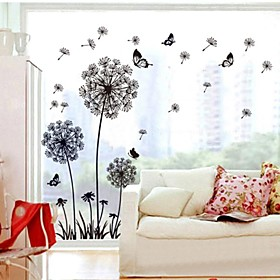 Doudouwo Botanical Solid Style Dandelion And Butterfly Wall Stickers