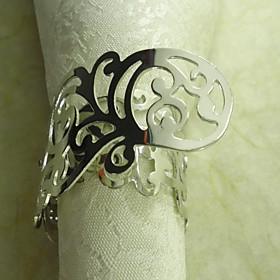 Plating Metal Flower Napkin Ring, Metal, 3.5cm, Set of 12