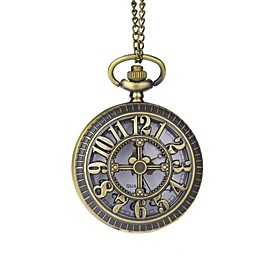 Groom Bronze Hollow Engraving Numerals Pocket Watch With Gift Box