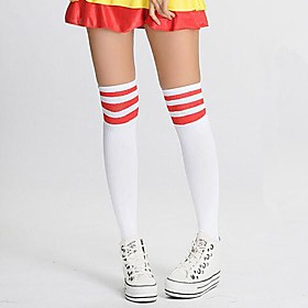 Image of Socks/Stockings Sweet Lolita / Classic/Traditional Lolita Lolita Lolita Red / White Lolita Accessories Stockings Print / Striped For Women